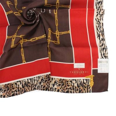 TRUSSARDI-方鍊虎紋飾邊純棉領帕巾-咖啡/紅