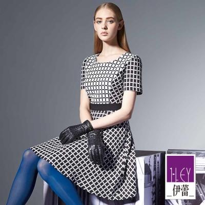 ILEY伊蕾-黑白格紋洋裝
