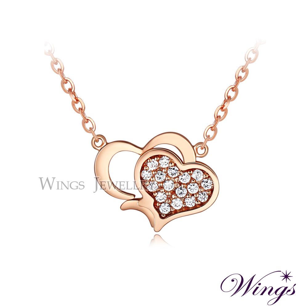 Wings 雙心奇緣 閃耀進口方晶鋯石美鑽 玫瑰金項鍊