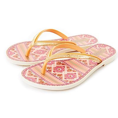 GRENDHA 華麗歐亞圖紋夾腳鞋-橘色
