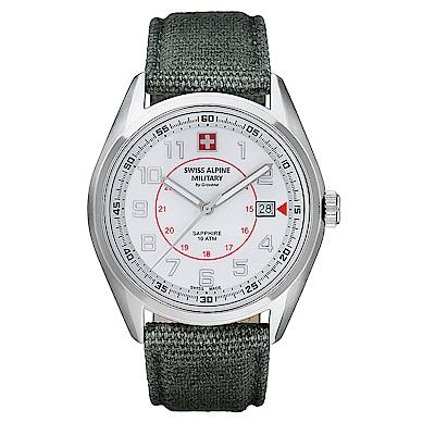 阿爾卑斯 S.A.M-獨家限定-智行系列-白色錶盤/灰綠色帆布帶/42mm