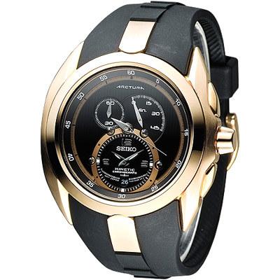 SEIKO 飆速世界人動電能計時男錶(SNL060P1)-玫瑰金框x橡膠錶帶/40mm