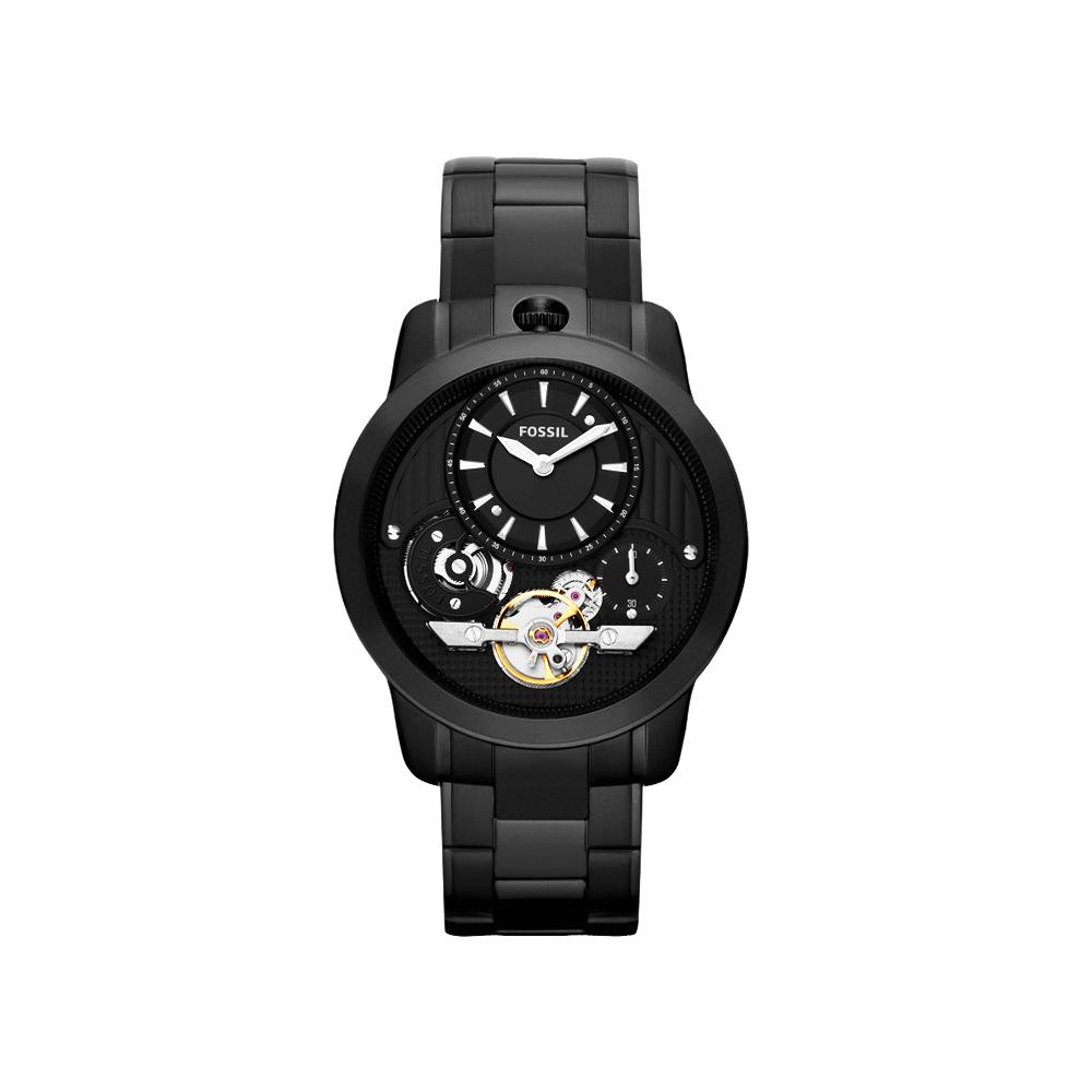 FOSSIL Twist 雙機芯都會時尚腕錶-IP黑/44mm