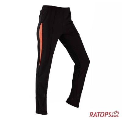 【瑞多仕】中性款 COOLPLUS 排汗長褲_DB8773 黑/桔紅色 V1