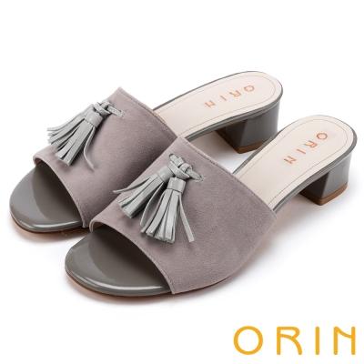 ORIN簡約時尚潮流皮革流蘇經典真皮粗跟拖鞋灰色