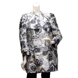 BALENCIAGA 走秀款花朵圖案特殊剪裁排釦外套(灰X黃-36)