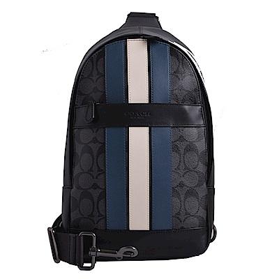 COACH 壓印LOGO拼色直條紋防刮皮革單肩後背/斜背包-黑