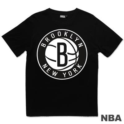 NBA-布魯克林籃網隊單色印花短袖T恤-黑(男)
