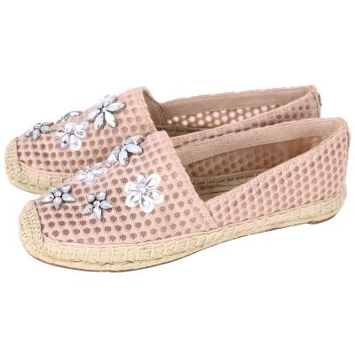 TORY BURCH Rosas Embellished 水晶花飾草編鞋(粉裸色)