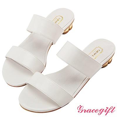 Grace gift-雙寬帶金屬花瓣跟涼拖鞋 白