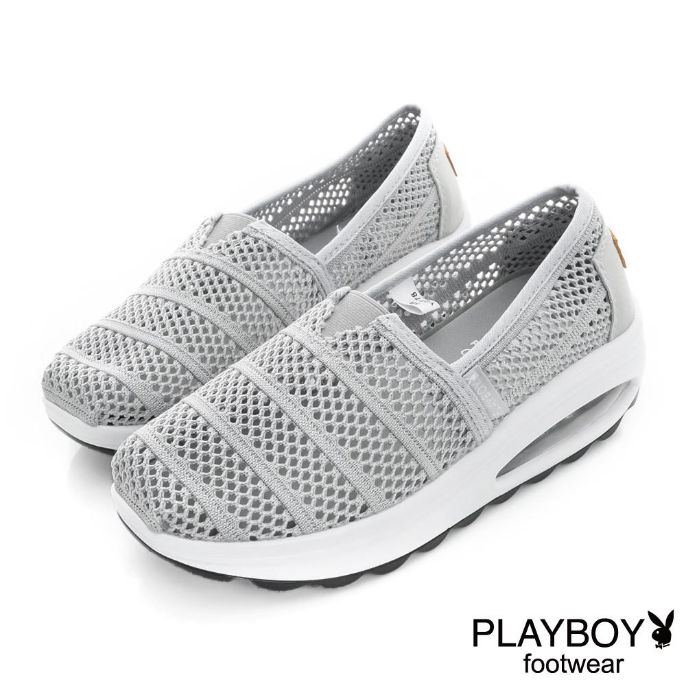 PLAYBOY 浪漫清新 網布輕量氣墊休閒鞋-灰(女)