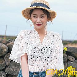 波浪花邊領縷空鉤花罩衫 (白色)-CiAO妞