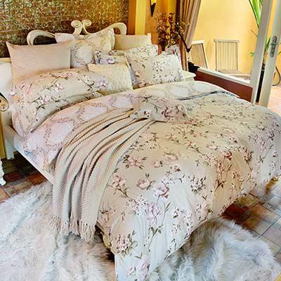 義大利La Belle 馨香芳庭 雙人四件式防蹣抗菌舖棉兩用被床包組