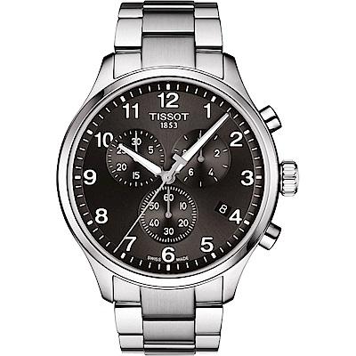 TISSOT天梭 韻馳系列CHRONO XL 大徑面計時腕錶-黑/45mm