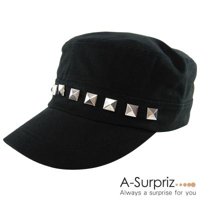 A-Surpriz 時尚帥氣時髦鉚釘軍帽(龐克黑)