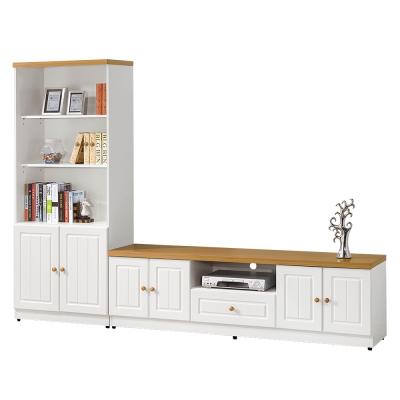 ROSA羅莎 碧安卡鄉村風烤白8.5尺L型書櫃組