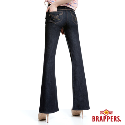 BRAPPERS 新美腳Royal系列-女用彈性寬版大喇叭褲-水洗藍