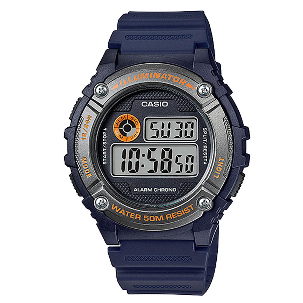 CASIO 元氣數位美學實用必備休閒錶(W-216H-2B)-藍x灰框/43mm