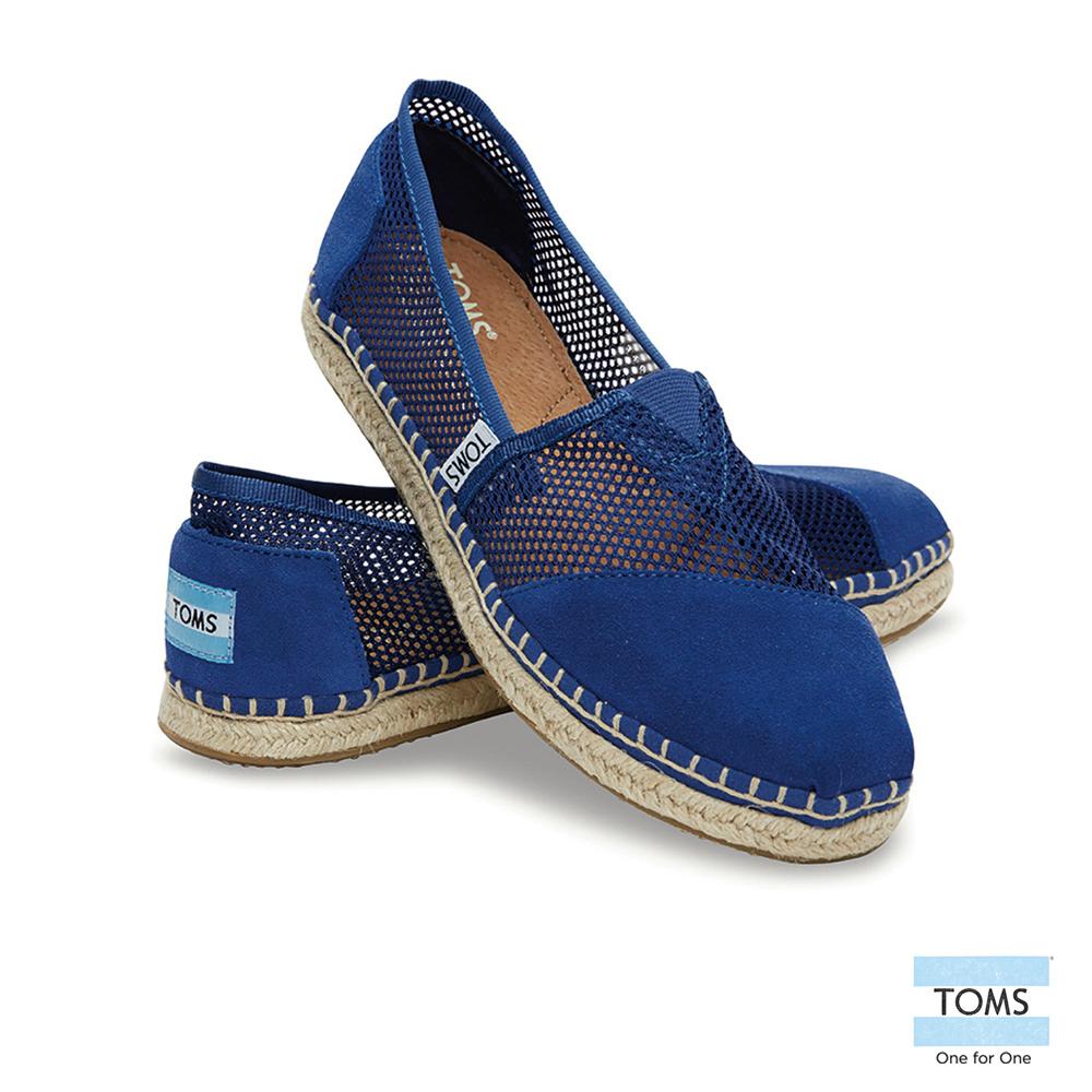 TOMS 經典網布麂皮拼接懶人鞋-女款(藍)