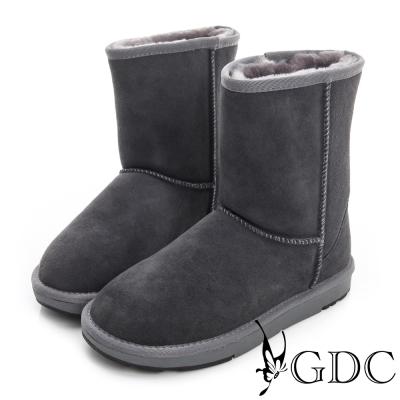 GDC溫暖-經典素面鋪毛真皮中筒雪靴-深灰色