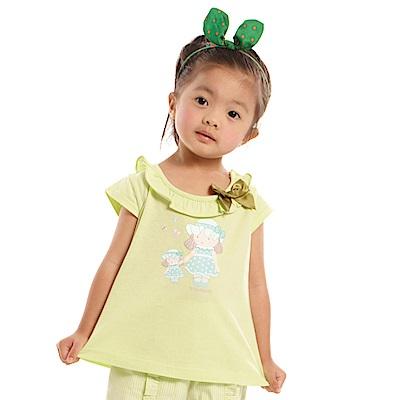 愛的世界 MYBABY 純棉荷葉圓領半袖上衣-果綠/4~8歲