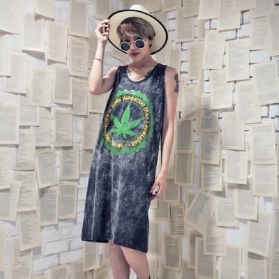 古著 綠色大麻葉圓形英日文仿舊感水洗背心洋裝