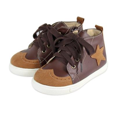 Swan天鵝童鞋-鞋頭雕花半高筒星星休閒鞋 3769-咖