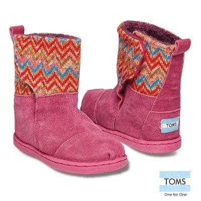 TOMS 圖騰針織拼接雪靴-孩童款(桃紅)