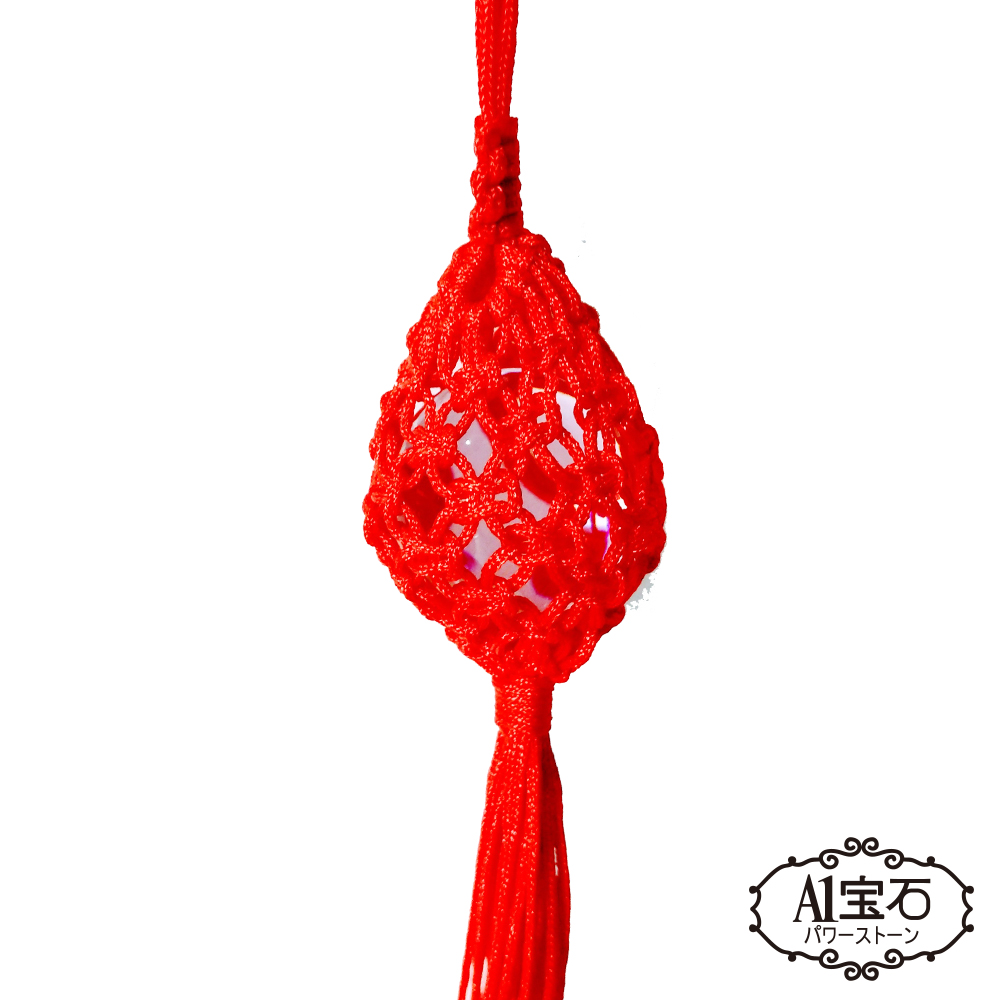 A1寶石  桃花祈願紅色繩粉水晶球吊飾-招人緣貴人運防小人口角(贈開運錢母)