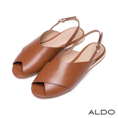ALDO-原色寬版交叉露趾雙色夾心拉帶涼鞋-橄欖棕