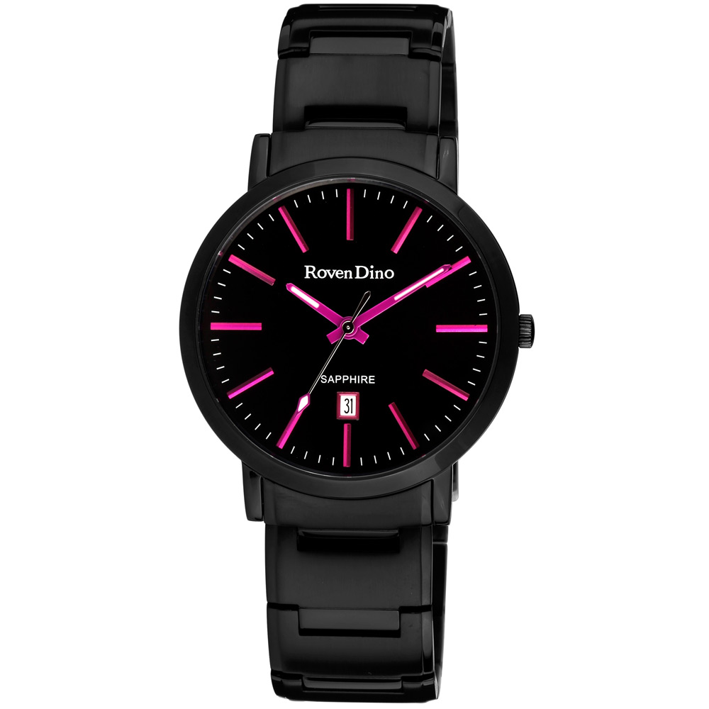 Roven Dino 為愛璀璨 藍寶石水晶玻璃腕錶-黑x桃紅刻/40mm