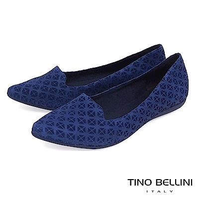 Tino Bellini 巴西進口特殊矩形壓紋樂福鞋_ 藍