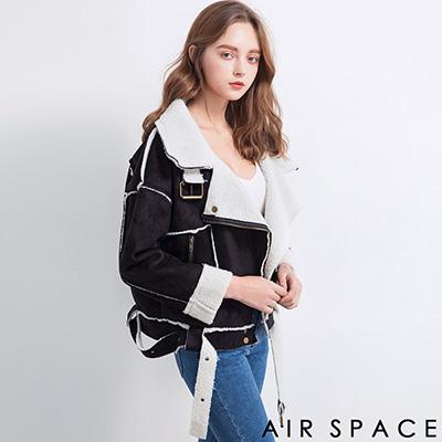 AIR SPACE 鋪棉滾邊麂皮絨短版騎士外套(黑)