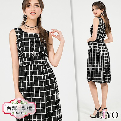 LIYO理優MIT格紋雪紡長洋裝(黑)