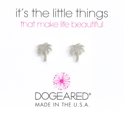 Dogeared 好萊塢棕梠樹耳環 銀色 PALM TREE 附原廠盒