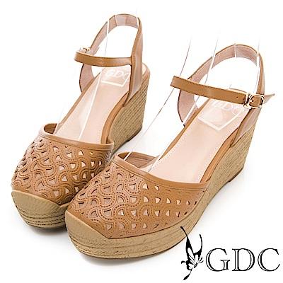 GDC-真皮楔型厚底日雜基本簍空涼鞋-棕色