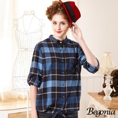 Begonia 牛仔拼接口袋抽繩磨毛格紋襯衫(共二色)