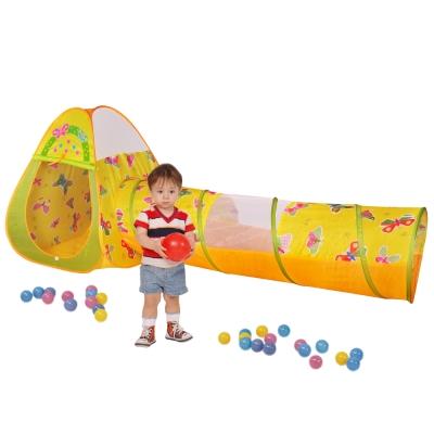 寶貝樂三角蝴蝶帳篷附隧道折疊遊戲球屋送100球