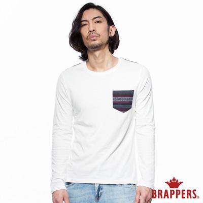 BRAPPERS 男款 針織配布口袋上衣-米白