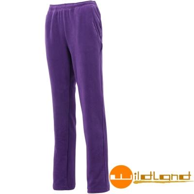 Wildland 荒野 W2531-53紫色 女奈米銀機能彈性刷毛長褲