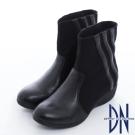 DN 韓系精選 羊皮拼接彈性布料楔型中筒靴 黑