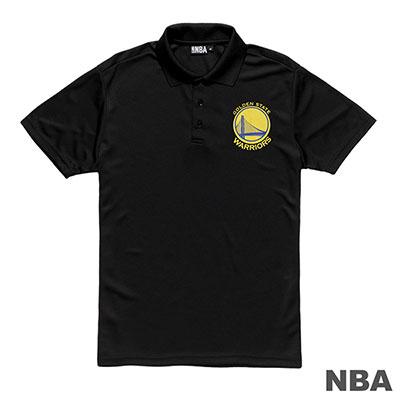 NBA-金州勇士隊排汗印花短袖POLO衫-黑 (男)
