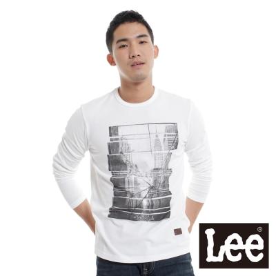 Lee-長袖厚T-圓領街道圖相片印刷-男款-白