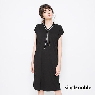 獨身貴族 復古風潮運動風織帶拼接洋裝(1色)