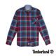 Timberland 男款紫紅色亞麻格紋長袖