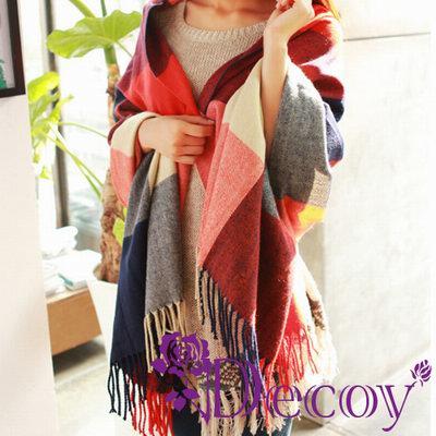 Decoy 蘇格蘭格紋 寬版編織圍巾 四色可選