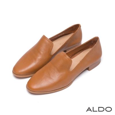 ALDO-率性都會風真皮雙車線弧形樂福跟鞋-內斂焦糖