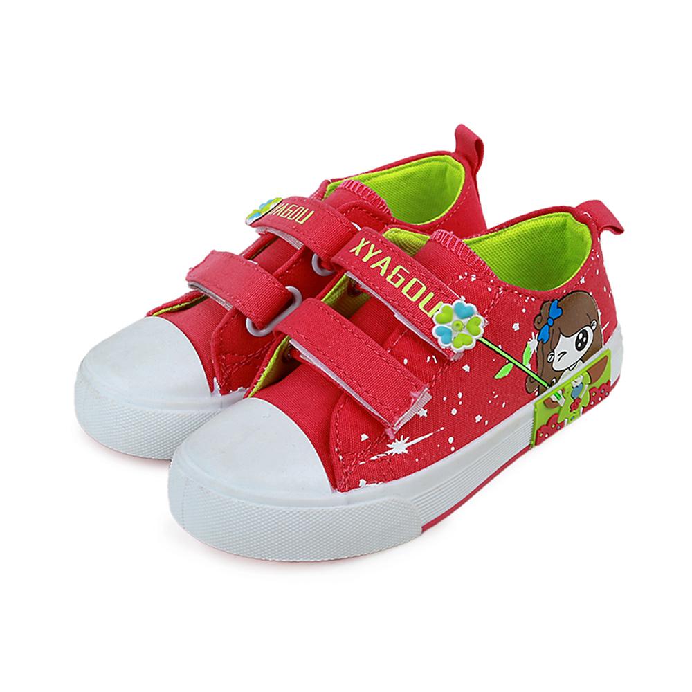 甜美女孩款四季兒童時尚帆布板鞋(紅)