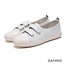 達芙妮DAPHNE 休閒鞋-真皮魔鬼氈學院風平底休閒鞋-白
