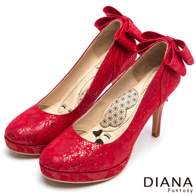 DIANA-漫步雲端LADY款-浪漫蕾絲晚宴跟鞋-紅